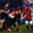 Rory Scannell of Munster is tackled by Owen Farrell of Saracens during the Heineken Champions Cup Semi-Final match between Saracens and Munster at the Ricoh Arena in Coventry, England. Photo by David Fitzgerald/Sportsfile