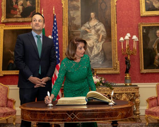 Next month's elections will be the first chance for the public to voice an opinion on Leo Varadkar since becoming Taoiseach. Here, he welcomes Speaker of the United States House of Representatives Nancy Pelosi to Dublin Castle last week. Photo: AFP/Getty Images