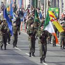 The Colour Party marches along O'Connell Street during the Saoradh Easter Commemoration in Dublin. Photo: Tony Gavin 20/4/2019