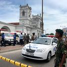 Sri Lankan Army soldiers secure the area around a church after a blast in Colombo, Sri Lanka (AP Photo/Eranga Jayawardena)