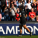 Billy Vunipola of Saracens runs past the crowd following the Heineken Champions Cup Semi-Final match between Saracens and Munster at the Ricoh Arena in Coventry, England. Photo by David Fitzgerald/Sportsfile