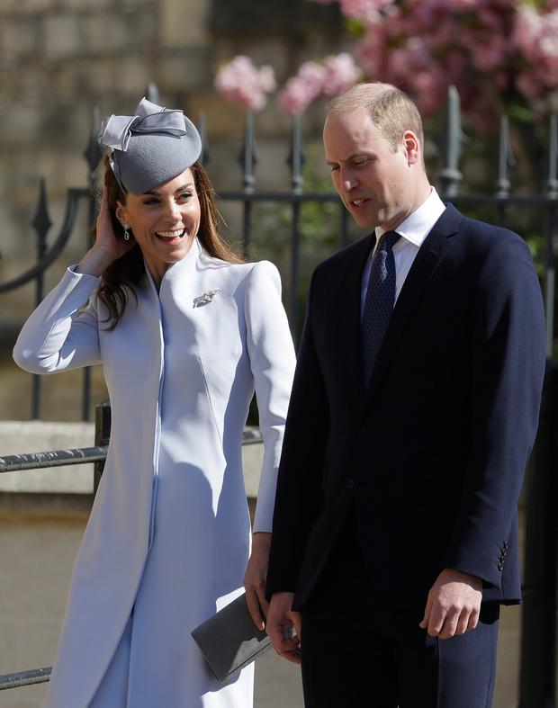 WINDSOR, ENGLAND - APRIL 21: Prince William, Duke of Cambridge and Catherine, Duchess of Cambridge attend Easter Sunday service at St George's Chapel on April 21, 2019 in Windsor, England. (Photo by Kirsty Wigglesworth - WPA Pool/Getty Images)
