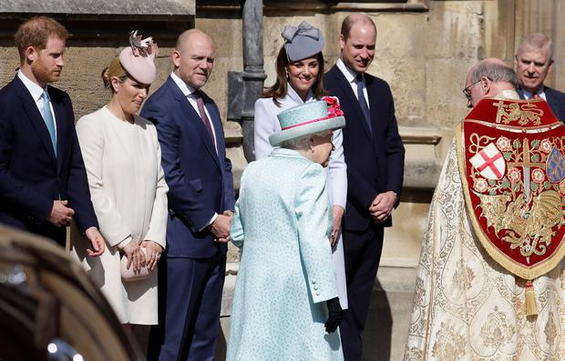 Britain's Queen Elizabeth, Catherine, Duchess of Cambridge, Prince William, Prince Harry, Zara Phillips and Mike Tindall arrive at the Easter Mattins Service at St. George's Chapel in Windsor, Britain April 21, 2019. Kirsty Wigglesworth/Pool via REUTERS