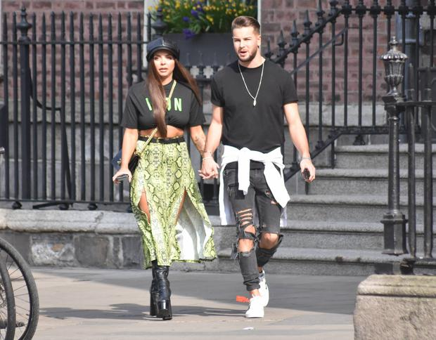 Little Mix's Jesy Nelson & Love Island's Chris Hughes spotted holding hands at The Merrion Hotel, Dublin, Ireland - 20.04.19. Pictures: Cathal Burke / VIPIRELAND.COM