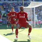 Soccer Football - Premier League - Cardiff City v Liverpool - Cardiff City Stadium, Cardiff, Britain - April 21, 2019 Liverpool's Georginio Wijnaldum celebrates scoring their first goal Action Images via Reuters/Carl Recine