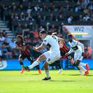 Silver lining: Fulham's Aleksandar Mitrovic winner from the penalty spot gave fans something to cheer despite relegation. Photo by Alex Davidson/Getty Images