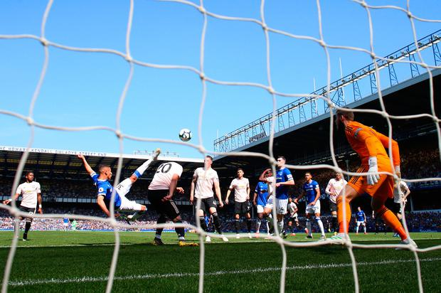 Richarlison gives Everton the lead with a spectacular overhead strike. Photo by Alex Livesey/Getty Images