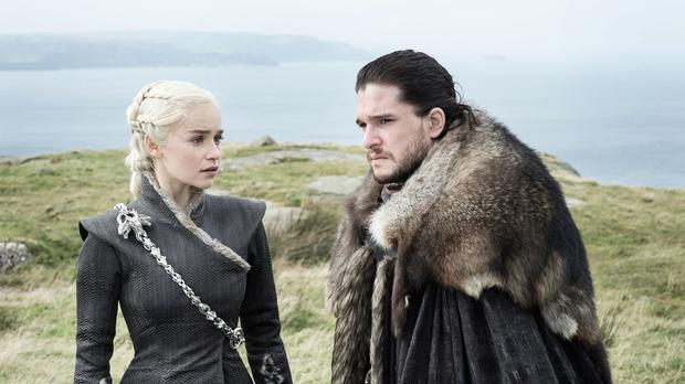 Emilia Clarke as Daenerys Targaryen and Kit Harington as Jon Snow in Game Of Thrones (HBO)