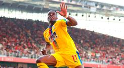 Wilfried Zaha celebrates after scoring Crystal Palace's second goal in yesterday's Premier League clash against Arsenal. Photo by Warren Little/Getty Images