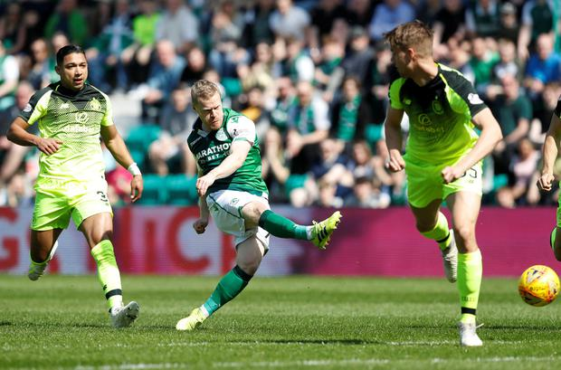 HAVING A GO: Hibernian's Daryl Horgan shoots at goal during yesterday's match against Celtic at Easter Road. Pic: Reuters