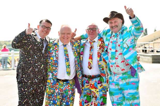Colourful crowd: Racegoers Jamie Phipps, Barry Burroughs, Martin Fitzgerald and Ian Yates, from London, were colourfully dressed at Fairyhouse. Photo: Matt Browne/Sportsfile