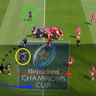 1 Leinster win an attacking scrum on the halfway line and set up with Robbie Henshaw (green) on the blindside. Luke McGrath is a clever support runner and his line (black) off Johnny Sexton (yellow) is crucial. Garry Ringrose runs a decoy (red) with Rob Kearney (blue) arcing around to collect McGrath's pass after Sexton feeds him.