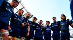 Winning talk: The Leinster players listen intently to Sean O'Brien in the team huddle following their victory over Toulouse in the Champions Cup semi-final yesterday. Photo: Ramsey Cardy/ Sportsfile