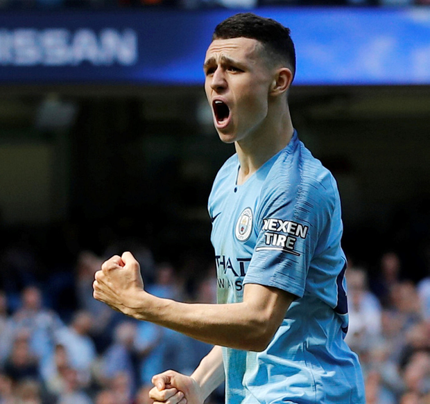Manchester City's Phil Foden celebrates scoring their first goal on Saturday. Photo: Reuters