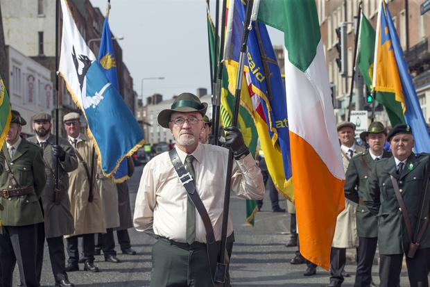 The Colour Party leads off the Saoradh Easter Commemoration in Dublin. Photo: Tony Gavin 20/4/2019