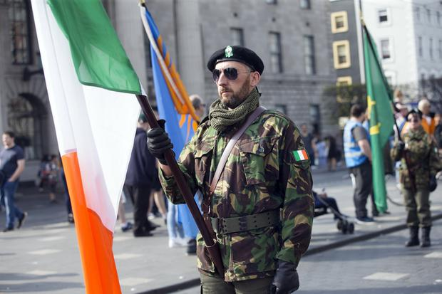 The Colour Party outside the GPO at the Saoradh Easter Commemoration in Dublin. Photo: Tony Gavin 20/4/2019