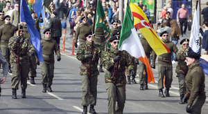 The Colour Party marches along O'Connell Street during the Saoradh Easter Commemoration in Dublin. Photo: Tony Gavin