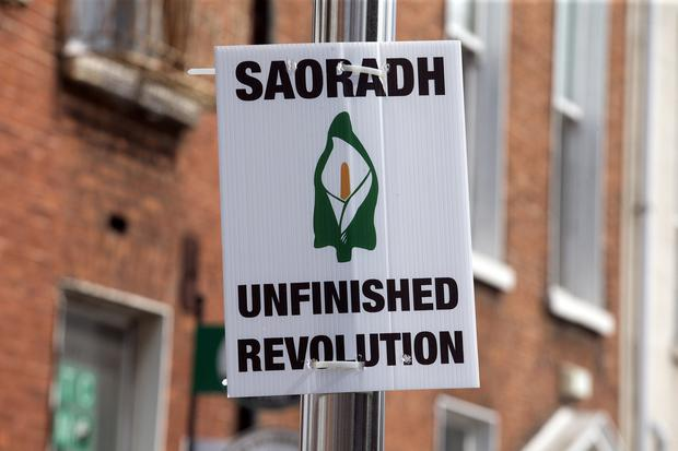 A poster at the Saoradh Easter Commemoration in Dublin. Photo: Tony Gavin 20/4/2019