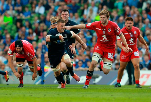 Sean O'Brien of Leinster charges upfield during the Champions Cup Semi Final match between Leinster and Toulouse. (Photo by David Rogers/Getty Images)