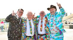Racegoers, from left, Jamie Phipps, Barry Burroughs, Martin Fitzgerald and Ian Yates, from London, England, at the Fairyhouse Easter Festival at Fairyhouse Racecourse in Ratoath, Co. Meath. Photo by Matt Browne/Sportsfile