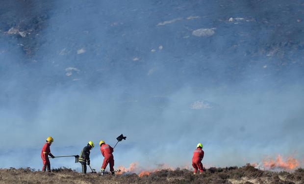 TWO houses where destroyed in a massive gorse fire in Co Donegal on Friday. The fires started again on Monday and are spreading in the Annnagry direction, with a number of roads closed.Photo Colm Lenaghan/Pacemaker Press
