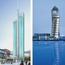The Point Watch Tower and Shopping Precinct, left, and the U2 Tower in Dublin's Docklands, right