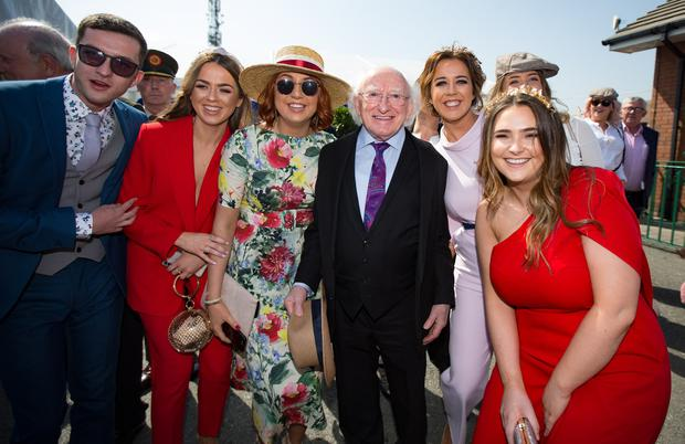 President Michael D. Higgins arriving to the 2019 Fairyhouse Irish Grand National on Easter Mionday. Photo: Mark Condren