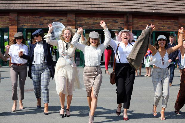 A hen party enjoying the 2019 Fairyhouse Irish Grand National on Easter Monday. Photo: Mark Condren