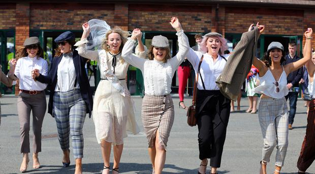 In Pictures: Michael D and a stylish hen party among revellers on a sunny Irish Grand National Day