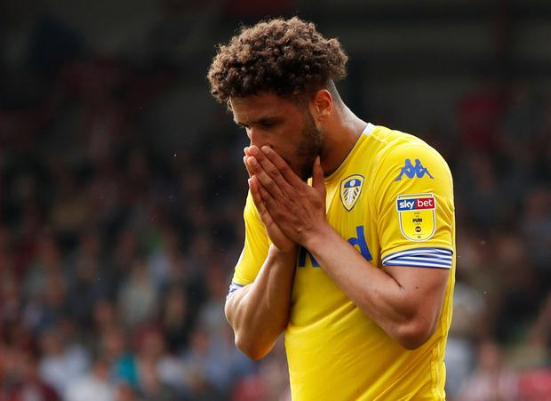 Soccer Football - Championship - Brentford v Leeds United - Griffin Park, London, Britain - April 22, 2019 Leeds United's Tyler Roberts reacts after a missed chance Action Images/John Sibley