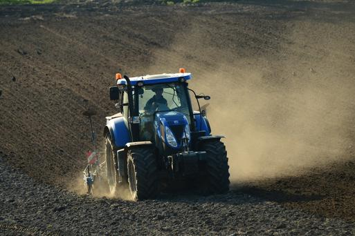 Patrick Lennon, Milltown, Co Carlow sowing 20 acres of spring barley during the dry spell. Photo: Roger Jones