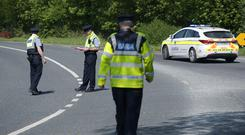 Gardaí at the scene of the collision in which Bridget Ward died. Photos: Damien Eagers