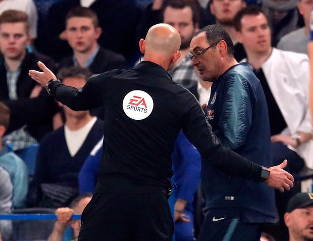 Chelsea manager Maurizio Sarri is sent off from the touchline. Photo: Adam Davy/PA Wire