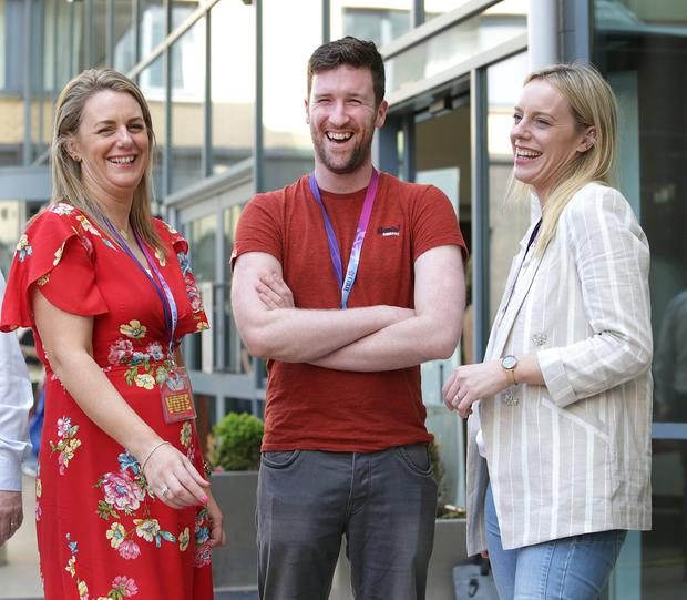 Delegates: Adrienne Nolan and her sister Irene with Conor Bredin during a break at the INTO annual congress in Galway. Photo: Damien Eagers
