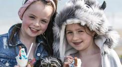 Fun in the sun: Dalai (10) and Kasie (8) Yates and pooch Fluffy at Portmarnock Beach. Picture: Kyran O'Brien