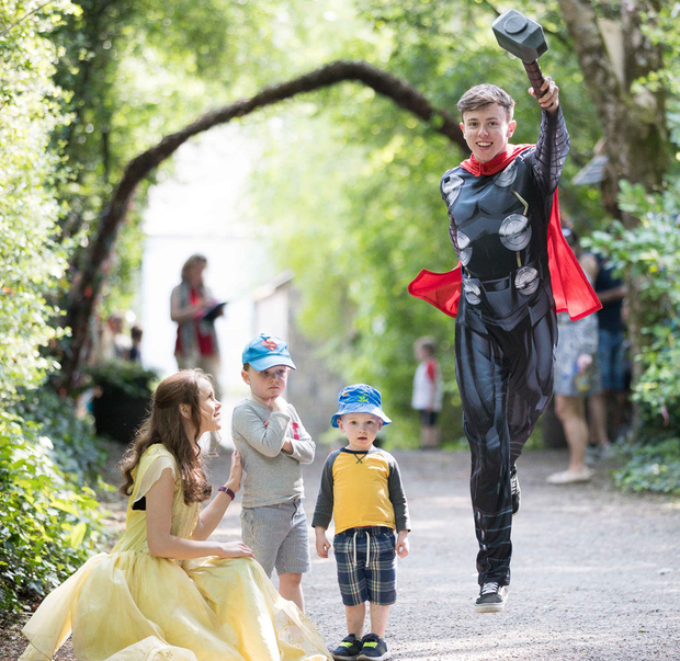 Martin and Cillian Wallace with Belle and Thor at Bunratty Castle. Photo: Eamon Ward
