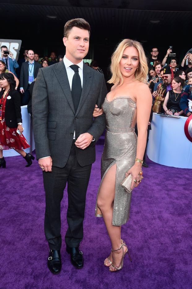 (L-R) Colin Jost and Scarlett Johansson attend the Los Angeles World Premiere of Marvel Studios'