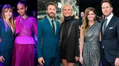 (L to R) Elizabeth Olsen and Zoe Saldana, Chris Evans and Gwyneth Paltrow, Chris Pratt and Katherine Schwartzenegger