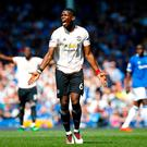 Manchester United's Paul Pogba reacts during the Premier League match at Goodison Park, Liverpool. Martin Rickett/PA Wire.