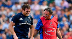 Seán Cronin of Leinster leaves the pitch with an injury accompanied by Leinster team doctor Prof John Ryan during the Heineken Champions Cup Semi-Final match between Leinster and Toulouse at the Aviva Stadium in Dublin. Photo by Brendan Moran/Sportsfile