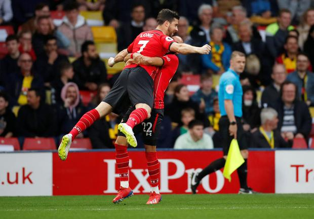 Soccer Football - Premier League - Watford v Southampton - Vicarage Road, Watford, Britain - April 23, 2019 Southampton's Shane Long celebrates scoring their first goal with Nathan Redmond. Action Images via Reuters/Andrew Boyers