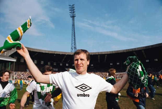 Celtic manager Billy McNeill celebrates after Celtic had beaten Dundee 3-0 to win the 1987/88 Scottish League Title at Park Head on April 23, 1988 . Photo: Getty
