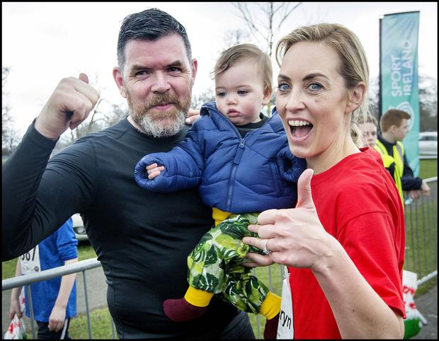 Kathryn Thomas with daughter Ellie and husband Padraig McLoughlin after their Operation Transformation 5K. Photo: Tony Gavin
