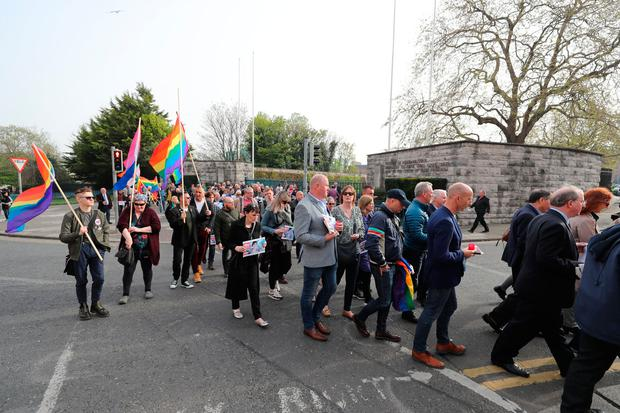 People march in solidarity outside the Garden of Remembrance in Dublin. Photo: Niall Carson