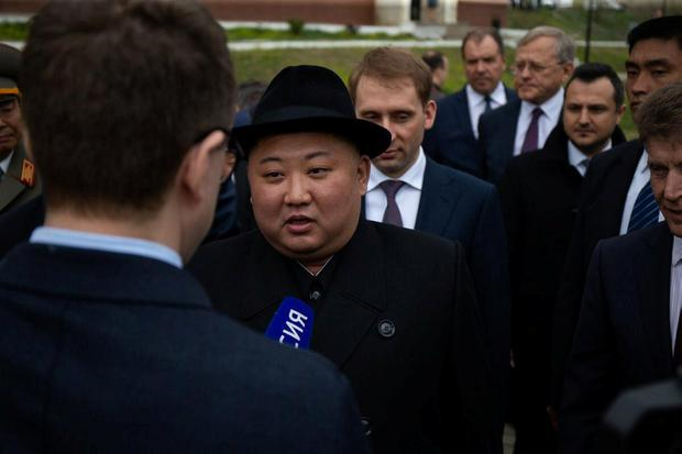 North Korean leader Kim Jong Un speaks during an interview with the Russian media upon his arrival at a railway station in the far eastern settlement of Khasan, Russia April 24, 2019. Press Service of Administration of Primorsky Krai/Alexander Safronov/Handout via REUTERS