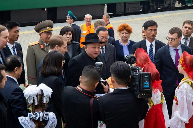 North Korean leader Kim Jong Un (C) takes part in a welcoming ceremony at a railway station in the far eastern settlement of Khasan, Russia April 24, 2019. Press Service of Administration of Primorsky Krai/Alexander Safronov/Handout via REUTERS