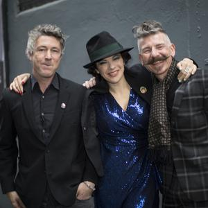 23/4/19 Aidan Gillen, Camille O'Sullivan and Jerry Fish at the Rock Against Homelessness concert in aid of Focus Ireland at the Olympia Theatre. Picture: Arthur Carron