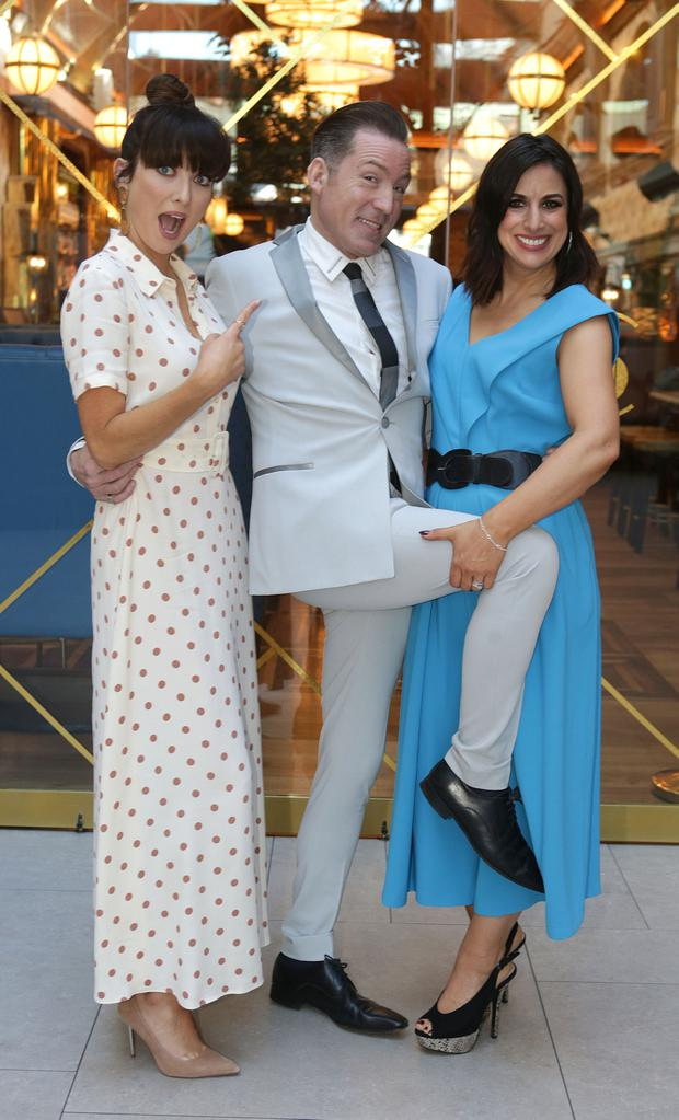 Jennifer Zamparelli, Julian Benson and Lucy Kennedy at the launch of the VIP Style Awards at Cafe En Seine in Dublin. Picture: Damien Eagers / INM