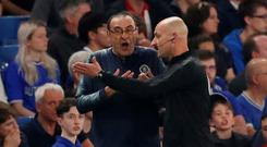 Chelsea manager Maurizio Sarri with fourth official Roger East. Action Images via Reuters/Andrew Boyers