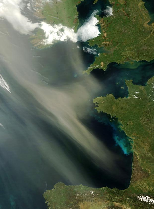 Saharan dust hovering off the coast of Western Europe in 2011. Photo: NASA image courtesy Jeff Schmaltz, MODIS Rapid Response Team, Goddard Space Flight Center.